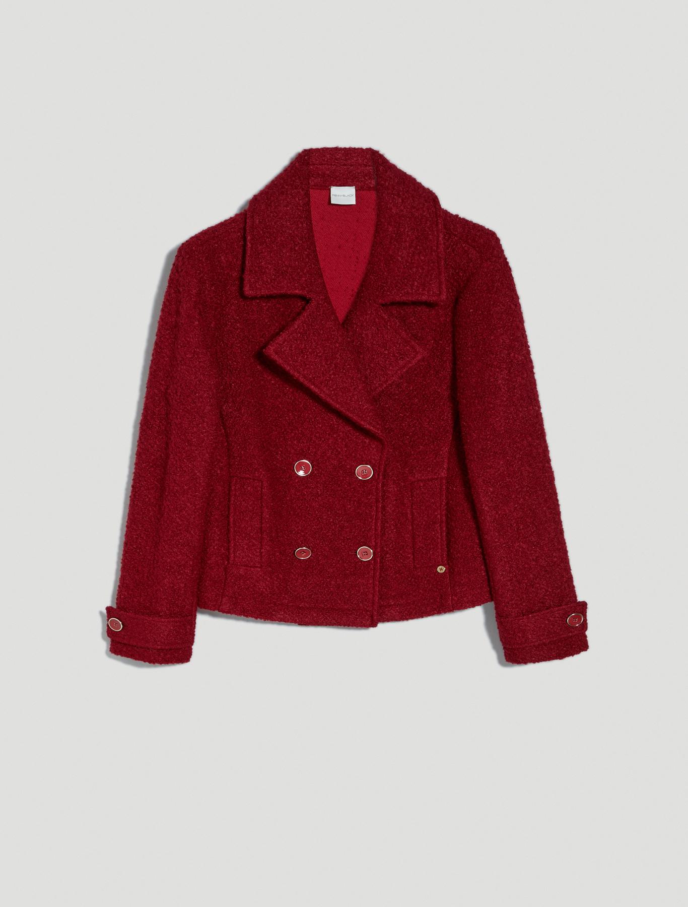 Pea coat in bouclé jersey - red - pennyblack
