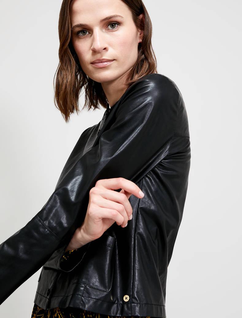 Coated jersey jacket - black - pennyblack