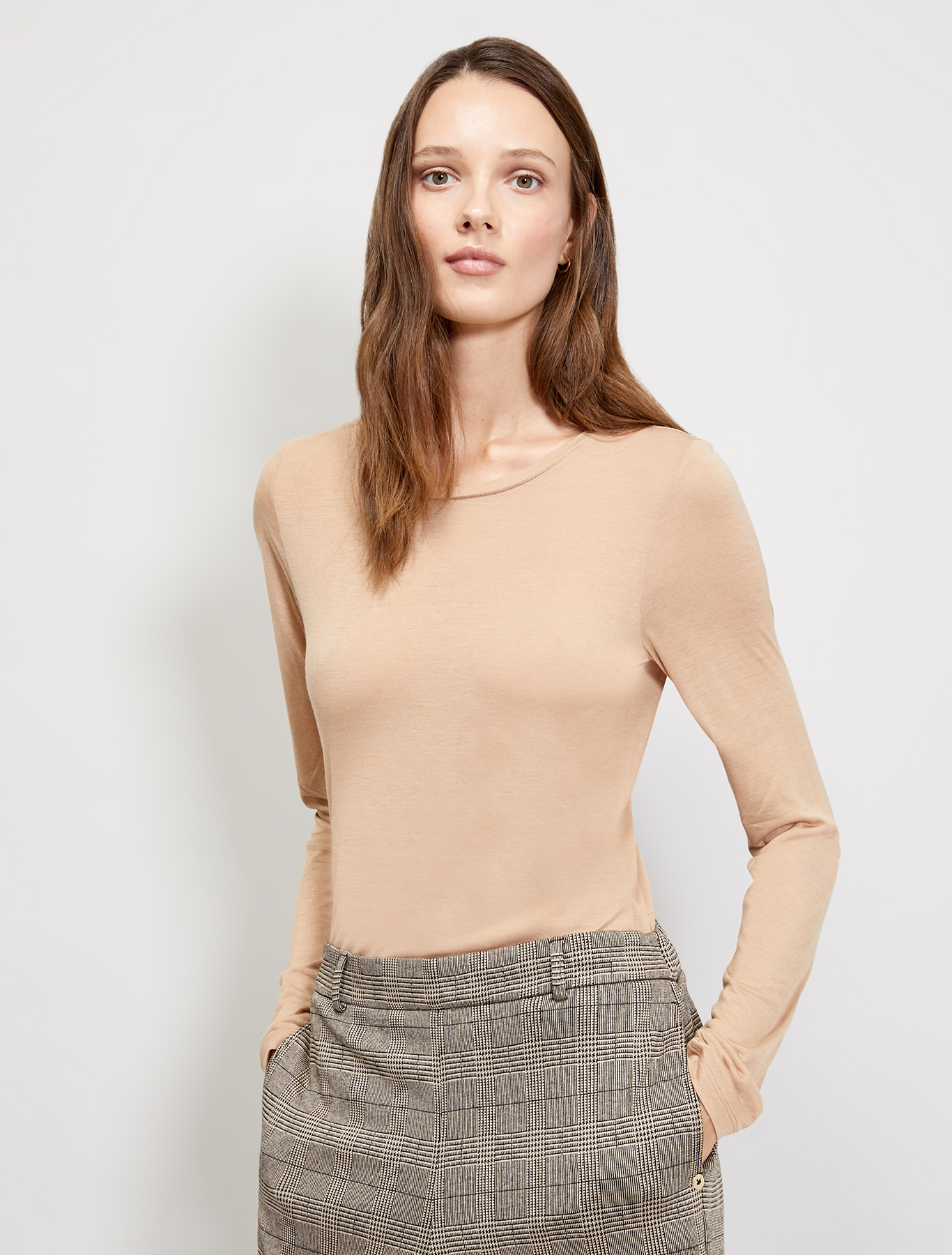 Micromodal and cashmere T-shirt - beige - pennyblack