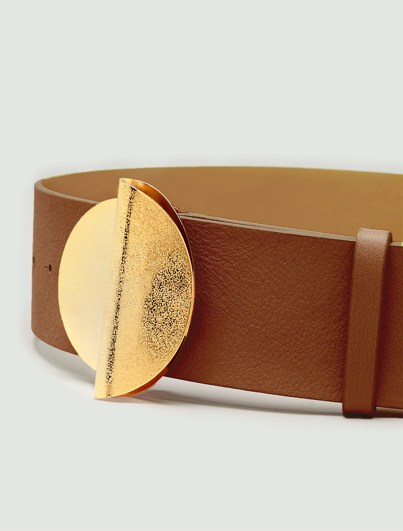 Belt with sculpture buckle - tan - pennyblack