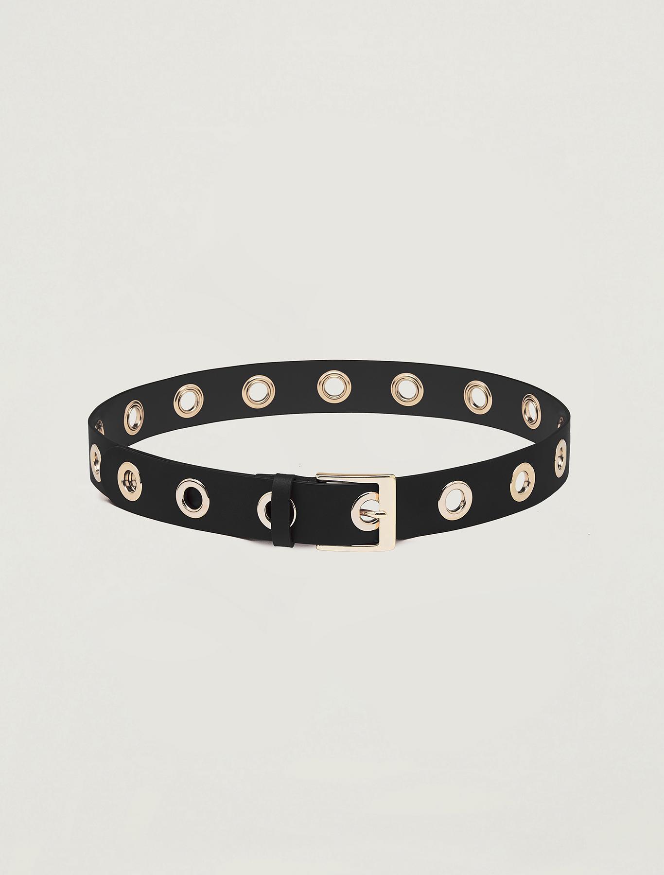 Belt with metallic eyelets. - black - pennyblack