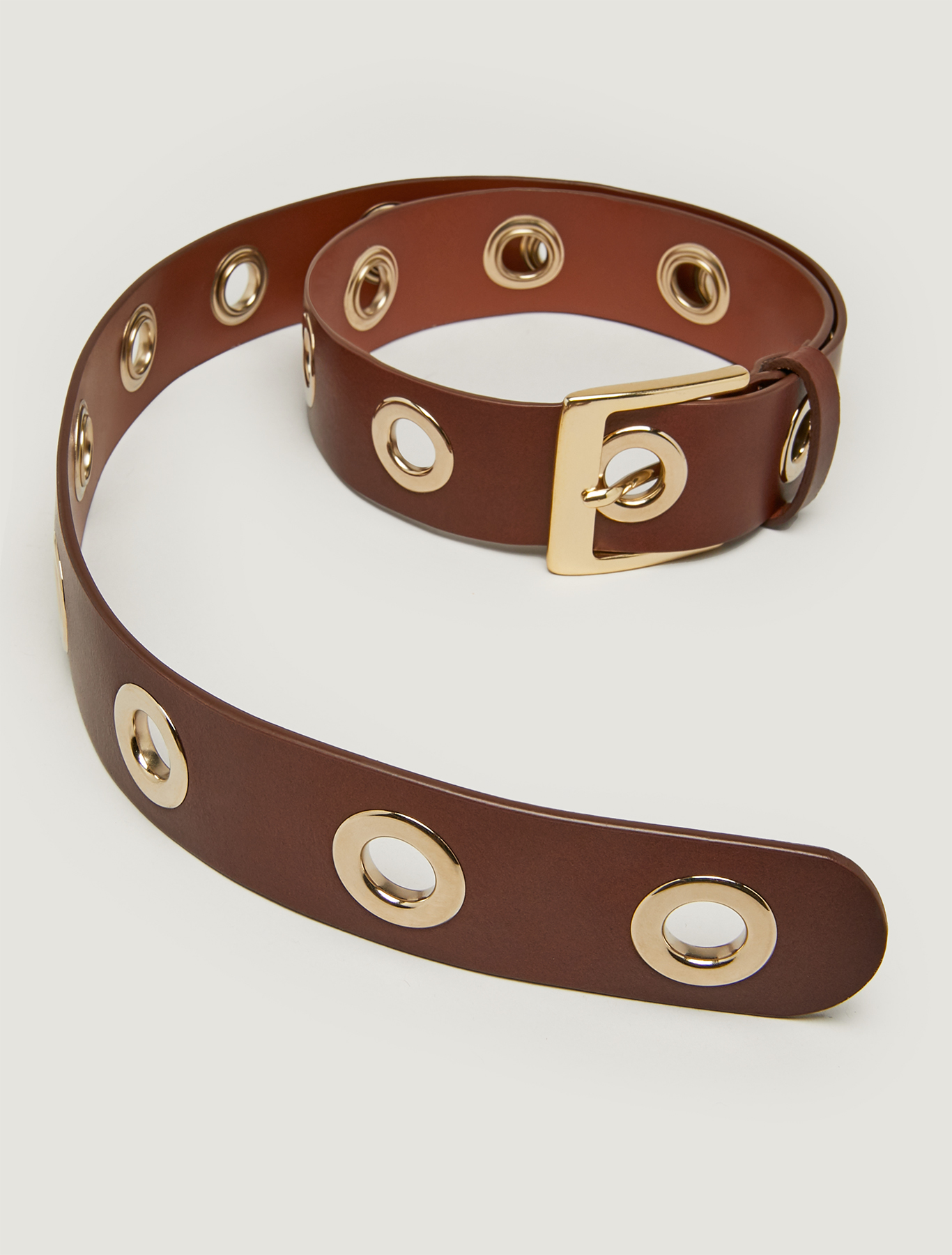 Belt with metallic eyelets. - tan - pennyblack