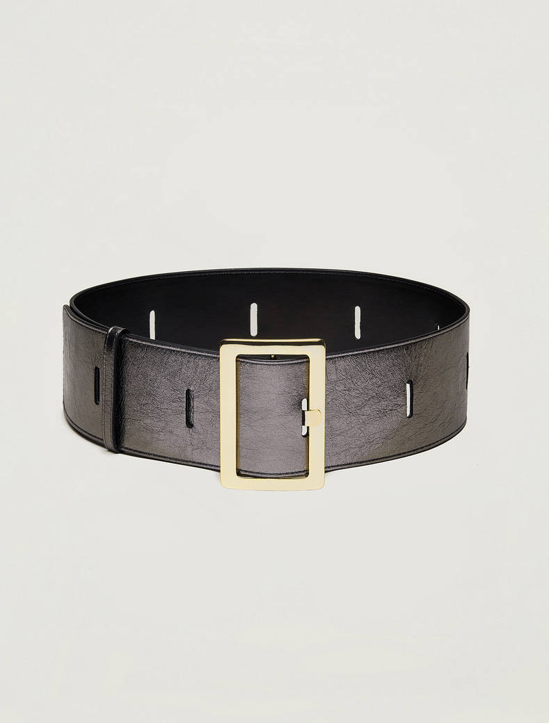 High belt with cut-outs - silver - pennyblack