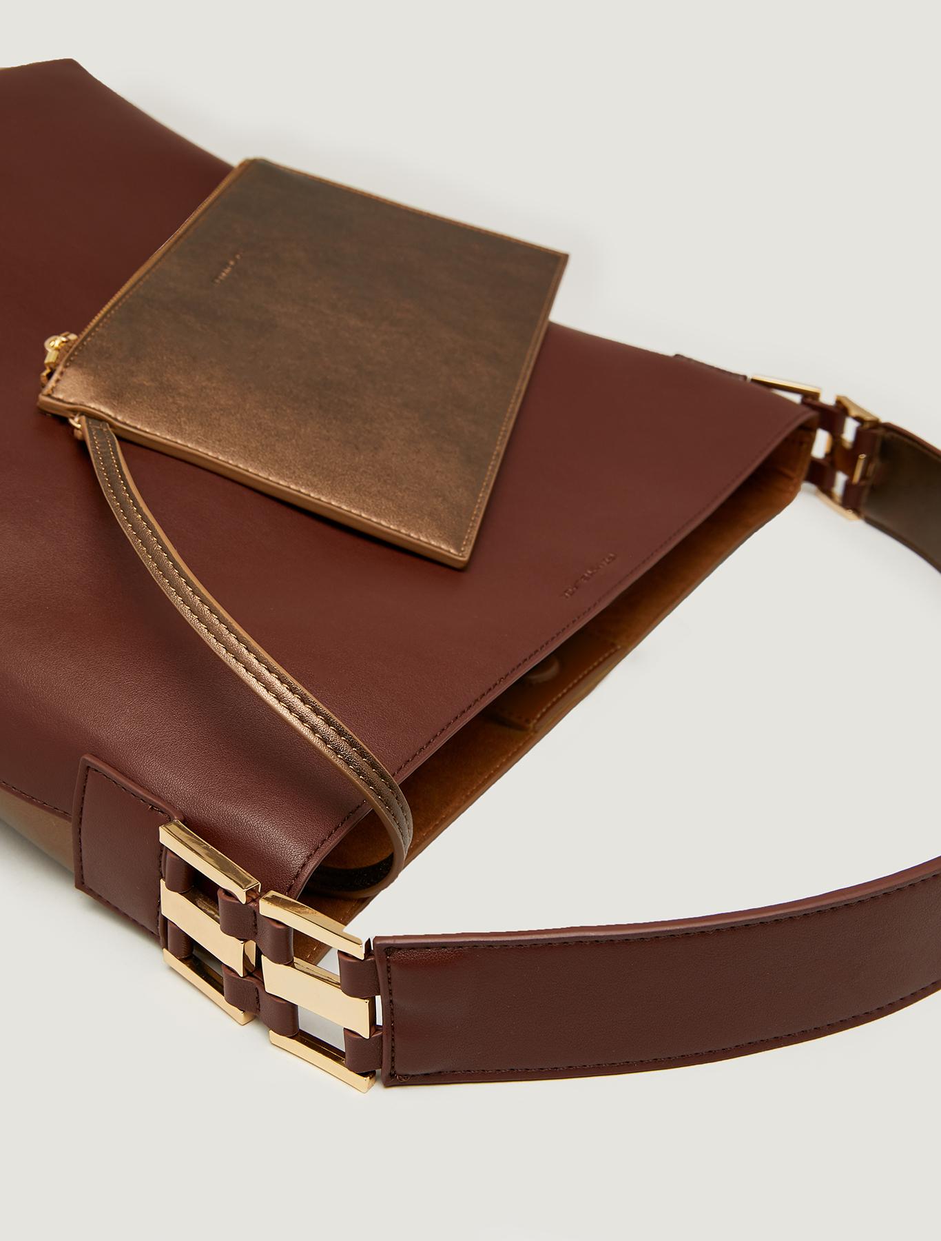 Maxi two-tone bucket bag - brown - pennyblack