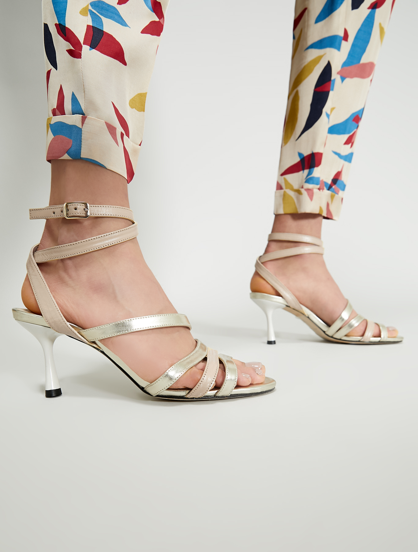 Sandals with metallic strips - ivory - pennyblack