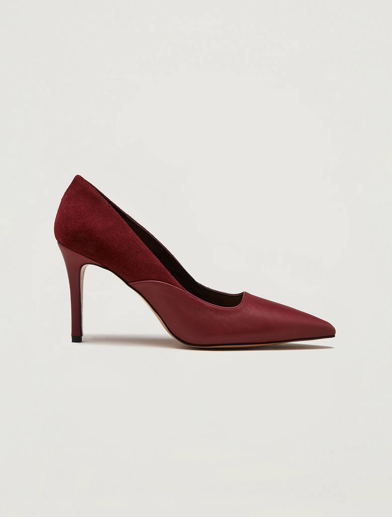 Nappa leather and suede court shoes - burgundy - pennyblack