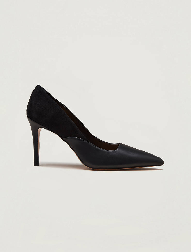 Nappa leather and suede court shoes - black - pennyblack