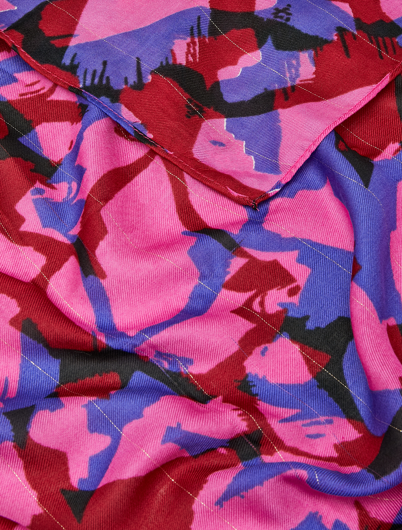 Patterned twill stole with lamé - fuchsia - pennyblack