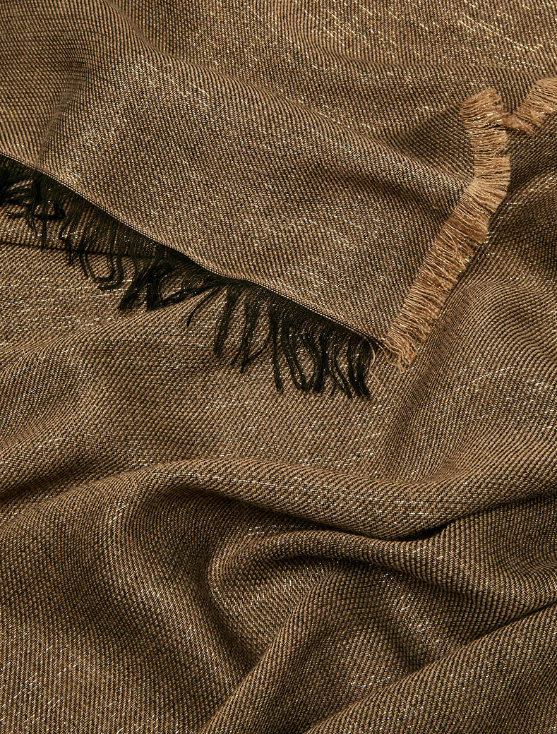 Stole in wool blend with lamé - camel - pennyblack