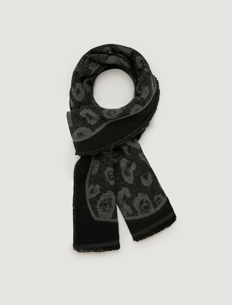 Jacquard pattern stole - medium grey - pennyblack