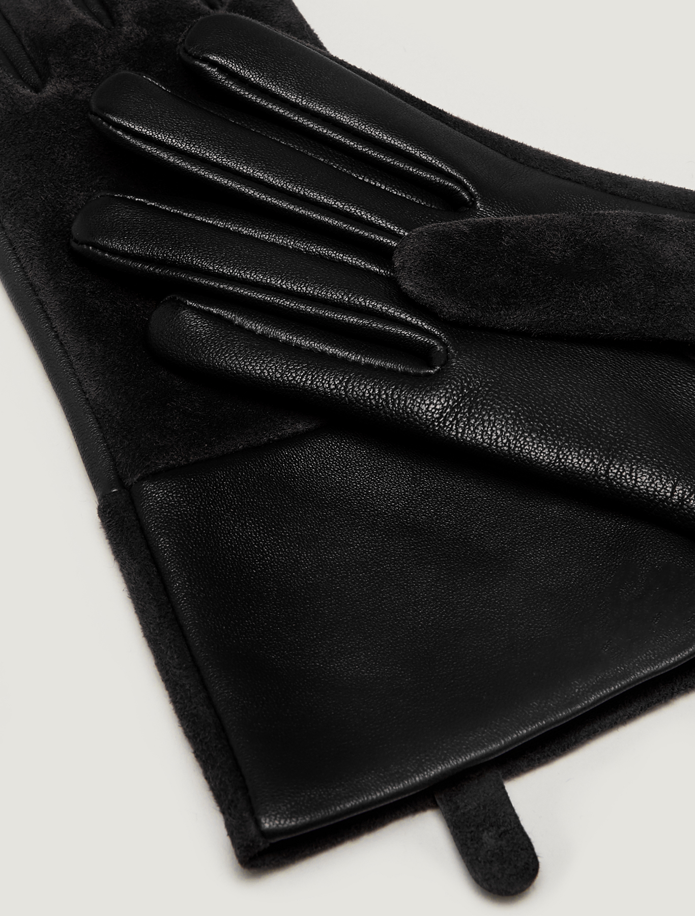 Nappa leather and suede gloves - black - pennyblack