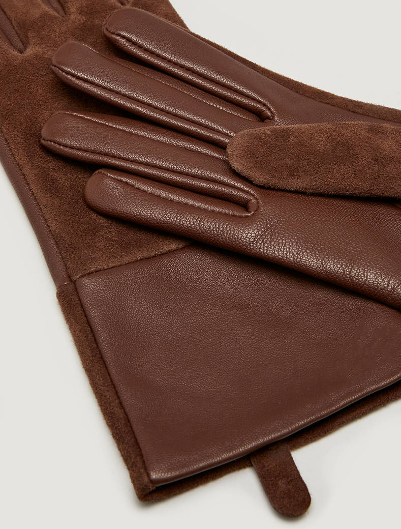 Nappa leather and suede gloves - tan - pennyblack