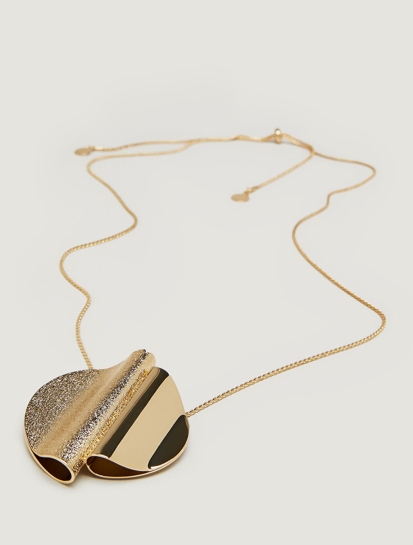 Sculpture pendant necklace - gold - pennyblack