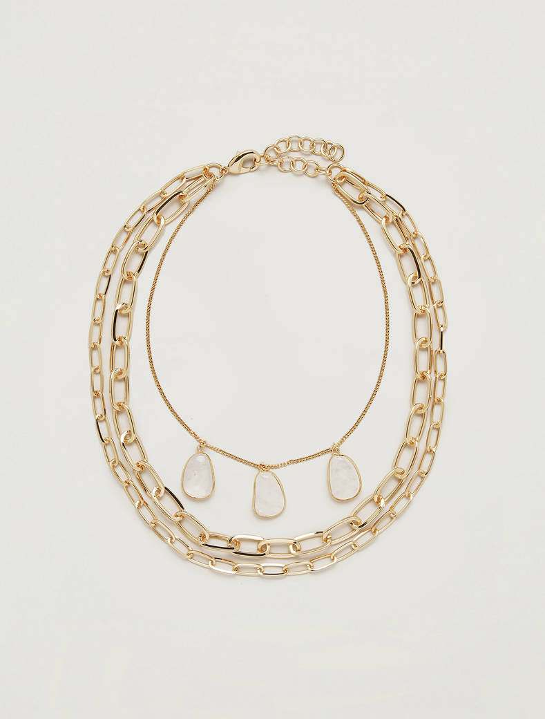 Stone and chain necklace - sunahine yellow - pennyblack