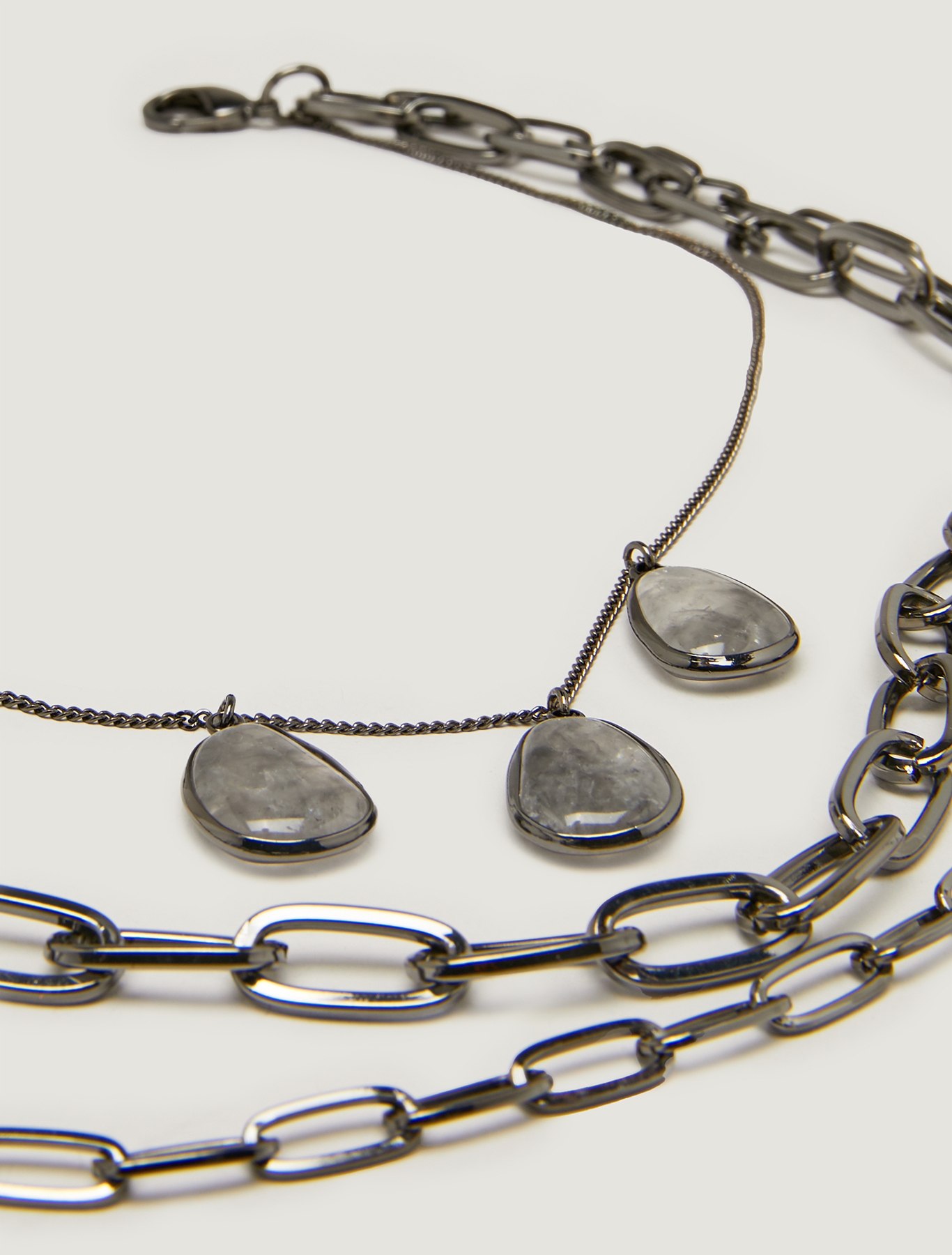 Stone and chain necklace - black - pennyblack