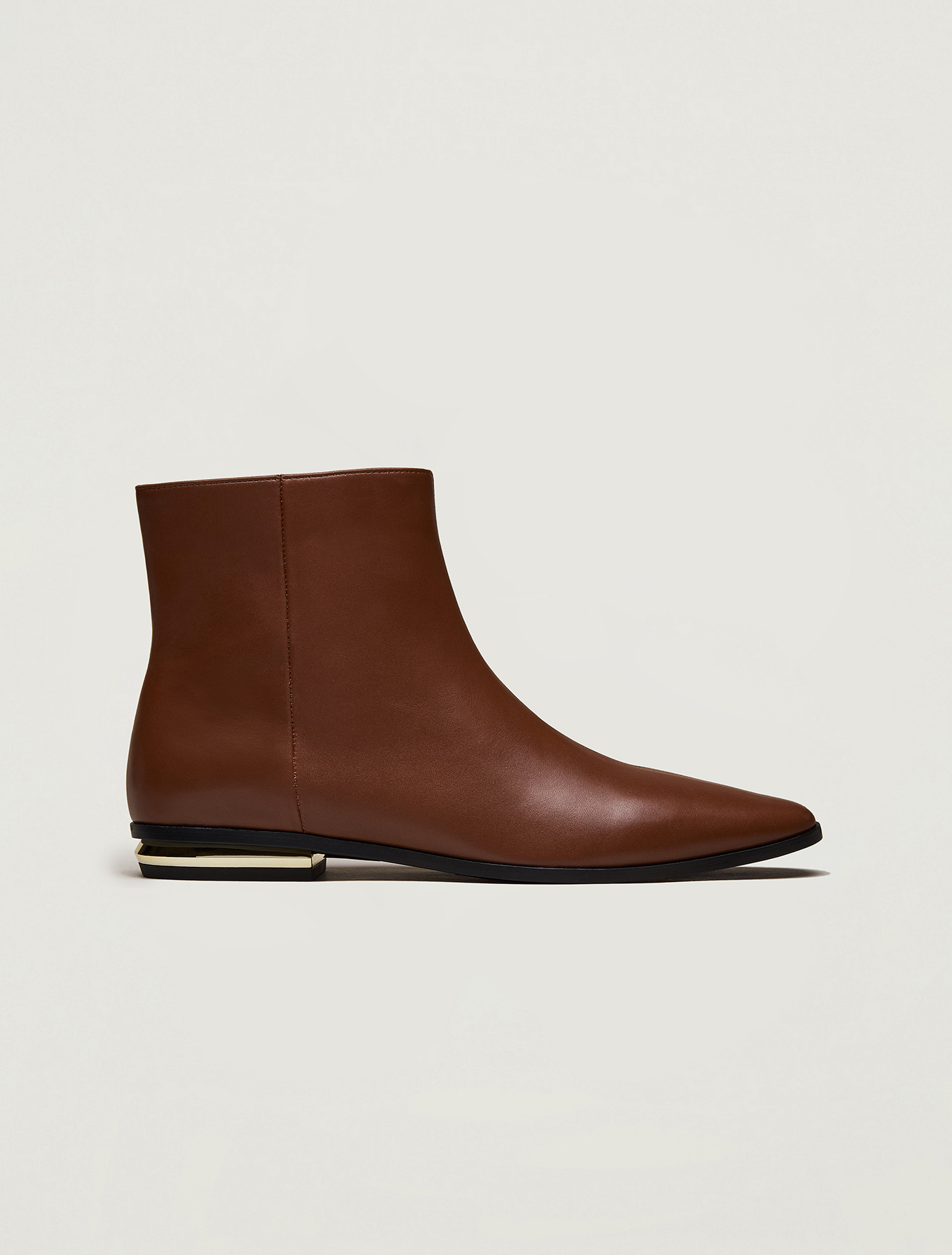 Ankle boots with gold mini-heel - tan - pennyblack