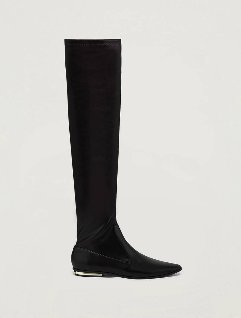 Thigh boots with gold heel - black - pennyblack