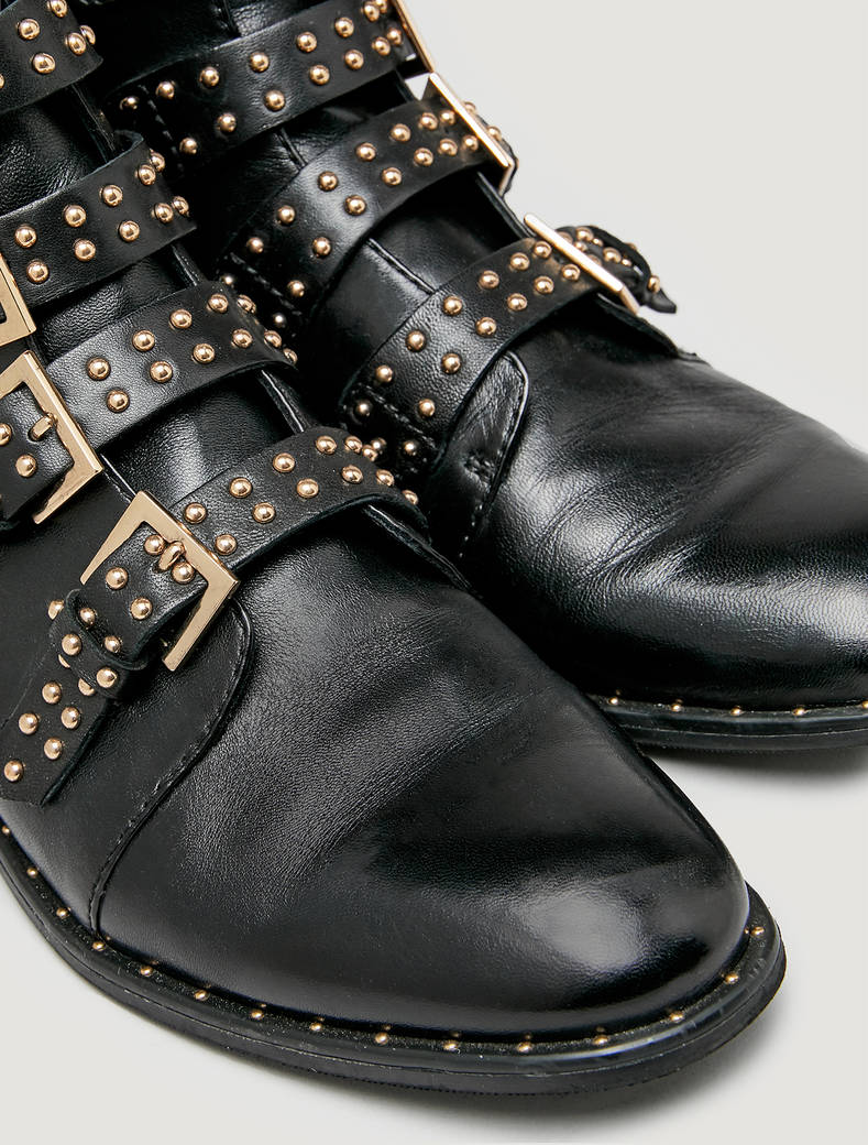 Ankle boots with studs and buckles - black - pennyblack