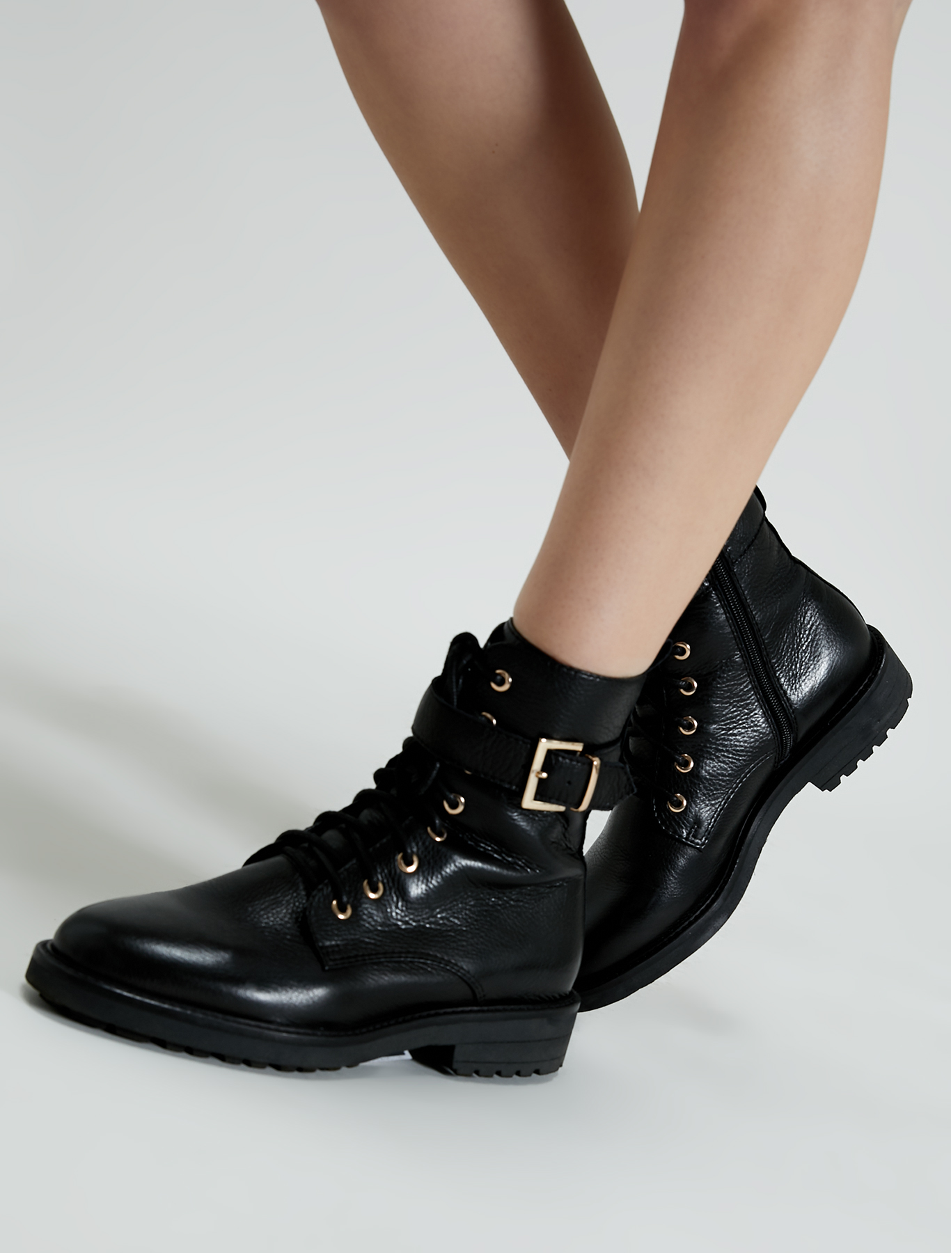 Leather combat boots with strap - black - pennyblack