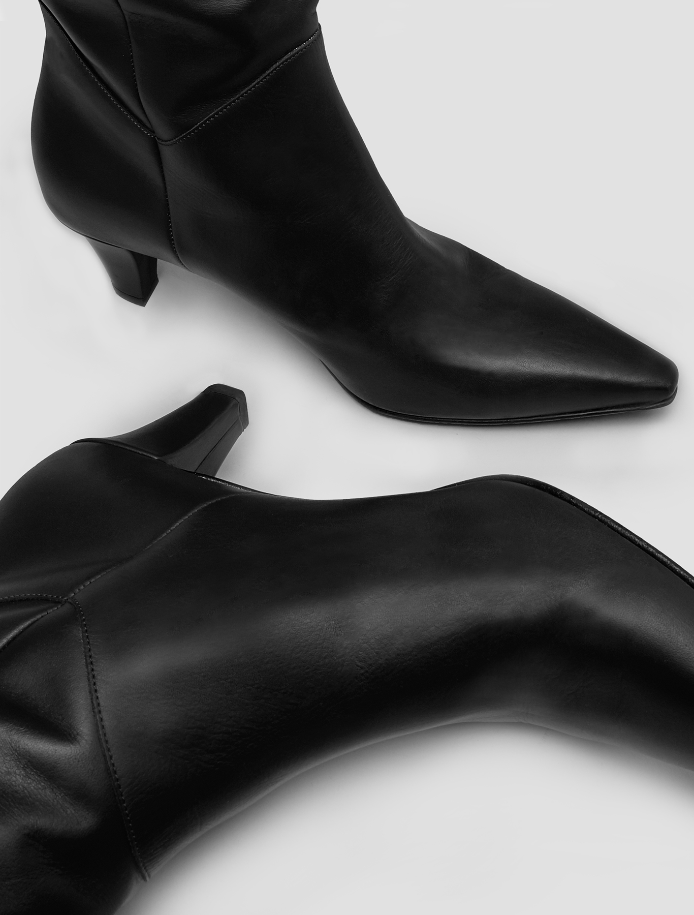 Leather knee-high boots - black - pennyblack