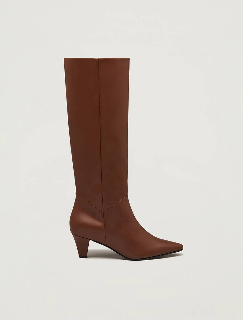 Leather knee-high boots - tan - pennyblack